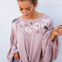 Taupe Flower Embroidered Blouse