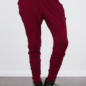 Wine Jersey Pleated Harem Pants |  MakeMeChic.com
