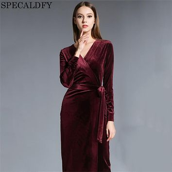 2018 Spring Winter Dresses Women Long Sleeve Vintage Red Velvet Dress Runway Sexy Evening Party Dresses Robe Femme Vestidos