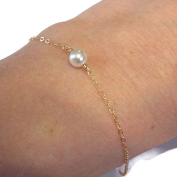 Pearl Bracelet sterling silver rose gold yellow gold filled - Minimalist Jewelry Single Pearl