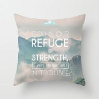 Typographic Motivational Bible Verses - Psalm 46:1 Throw Pillow by The Wooden Tree