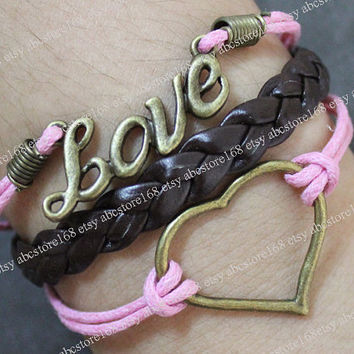 Bracelet-Love bracelet-Heart Bracelet-Adjustable Pink Rope Bracelet Cuff-Gift for girlfriend