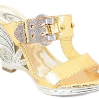 Jeweled Gold Bling Rhinestone Evening Open Toe Buckle Cut-out Mule Slide Sandals