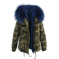 Camouflage Blue Fur Hooded Parka