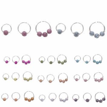 3Pcs/Set Round Beads Nose Stud Earrings Nostril Hoop Body Piercing Jewelry 6mm/8mm/10mm #259459