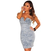 Denim Plunging Strapless Dress