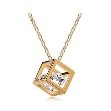 Fashion Romantic Crystal Cube Pendant Necklace
