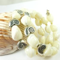Mother of Pearl Nugget Sterling Nautilus Charm Beaded Coil Bracelet
