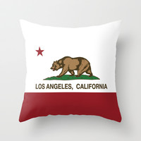 California Flag Los Angeles Throw Pillow by NorCal