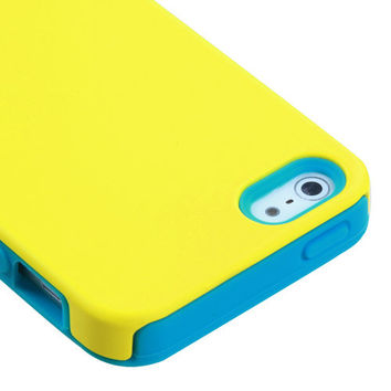Apple iPhone 5 5S SE HARD Hybrid Rubber Silicone Case Phone Cover Yellow Teal