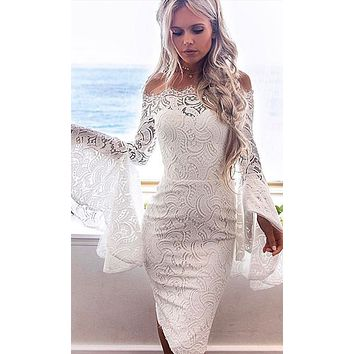 Sweet Heart Sheer Mesh Lace Long Flare Sleeve Off The Shoulder Bodycon Mini Dress - 2 Colors Available