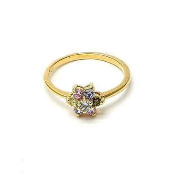Gold Layered Mult-stone Ring, Flower and Cluster Design, with Cubic Zirconia, Gold Tone
