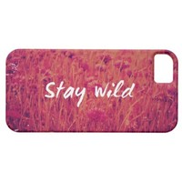 Cool Vintage Wild Flower Pink Photo Stay Wild iPhone 5 Case