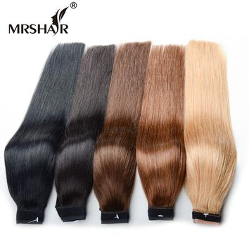MRSHAIR 18 Inches Ponytail Human Hair Ponytails Extensions 120grams Non-Remy Wrap Around Ponytail Clip In Brazilian Hair Tail