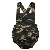 Newborn Baby Camouflage Romper Clothes Summer Sleeveless Infant Bebes Boys Girls Toddler Kids Jumpsuit Sunsuit