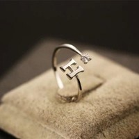 LMFONG Jewelry New Arrival Shiny Gift Stylish 925 Silver Simple Design Alphabet Diamonds Accessory Ring [8380581447]