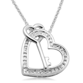 """Sterling Silver """"Mom"""" Diamond Accent Heart and Key Pendant Necklace (0.02 cttw),18"""""""