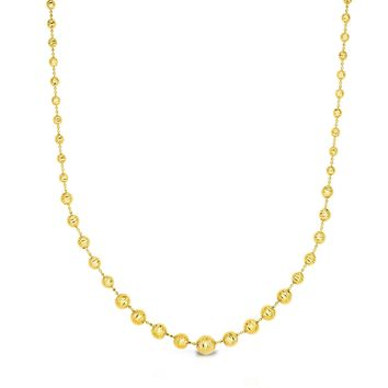 14k Yellow Gold Graduated Bead Womens Necklace, 17""