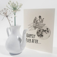 Wedding Congratulations Card: Newly-wed honeymoon foxes, paper rocket, moon, handmade congratulations card