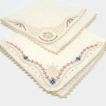 Crochet Edge Hankies Set Of Two Embroidered Pink Blue Green Floral On Ivory White