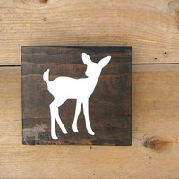 Rustic Fawn Wall Art - 6x6 pine,rustic nursery,rustic decor,stained wood, woodland,forest,kids room,cottage chic,babyshower gift,cabin decor