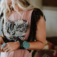 Racing Laced Graphic Tee - Mauve
