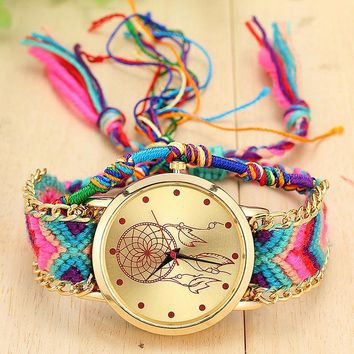 Vintage Women Ethnic Handmade Braided Quartz Watch Knitted Dreamcatcher Wristwatch Gifts LL@17
