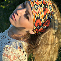 Fabric Headwrap, Bandana Headband, Elastic Back, Hippie Headwrap,Tribal Print