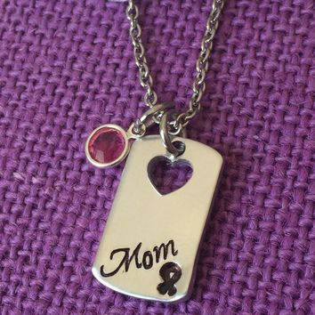 Memorial Jewelry Necklace - Remembrance Jewelry - Cancer Awareness - Cancer Loss - In Memory - Loved one - Mom - Dad - Grammy - Hand stampe
