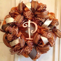 Fall Holiday Wreath, Fall DecoMesh Wreath, Holiday Wreath, Thanksgiving Wreath, Fall Decor, Door Wreath, Monogram Wreath, Designer Wreath