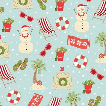 Bulk Ream Roll Christmas Gift Wrap Wrapping Paper, Beach Holiday