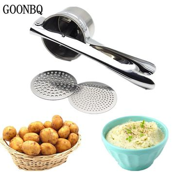 GOONBQ 1 pc Potato Press Masher Stainless Steel Potato Ricer Large Sturdy Puree Vegetable Fruit Juicer Press Maker