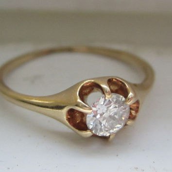 Antique Old European Cut Diamond Solitaire Engagement Ring, Wedding Ring, Promise Ring Belcher Setting 14k Gold