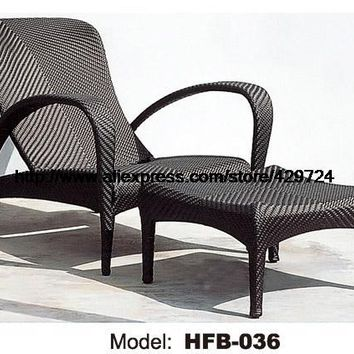 Outdoor Sun Lounger Chair Ottman Modern Rattan Lying Chair Swing Pool Graden Beach Sun Lounger Lying Rattan Longue Chair HFB036