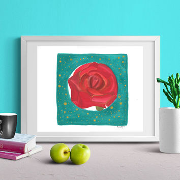 Royal Rose- Rose Painting, Watercolor Rose, Mixed Media Print, Gift Ideas for Girlfriend, Floral Print, Flowers Art Print, Watercolor print