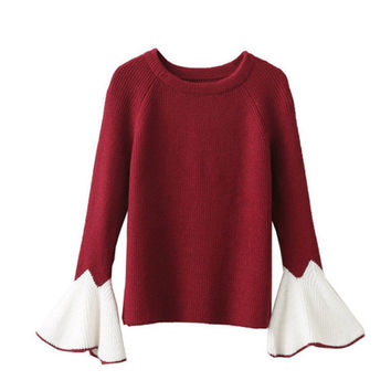 New Fashion Female Pullovers Knitted Long Flare Sleeve O-neck Winter Autumn Sweaters Hot  71986 SM6