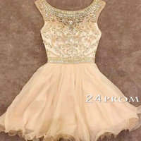 Round Neck A-line Beaded Champagne Short Prom Dresses, Homecoming Dresses