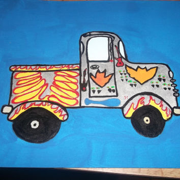 Truck Doodle Tangle Painting with Flames Bats Vampire Eyes Guitars Bat and Fishing Boys Room Abstract Art