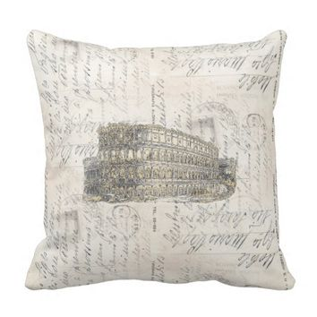 Ancient Rome Coliseum Italian Postcard Pillow