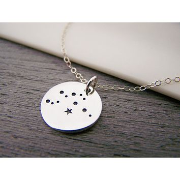 Dainty Sterling Silver Zodiac Aquarius Constellation Necklace / Gift for Her