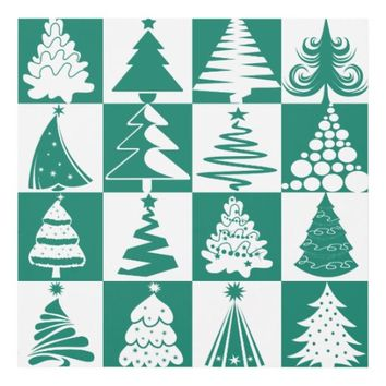 Green And White Christmas Tree Holiday Pattern Panel Wall Art