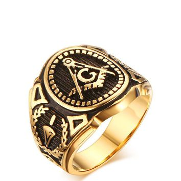 SIZZZ Men's Vintage Masonic Ring Freemason Symbol Member Gold Stainless Steel Punk Mason Jewelry Band