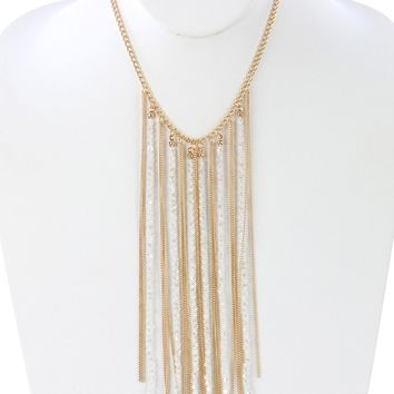 White Iridescent Glass Bead Long Chain Fringe Bib Necklace