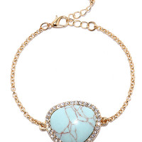 Ready Ore Not Gold and Turquoise Bracelet