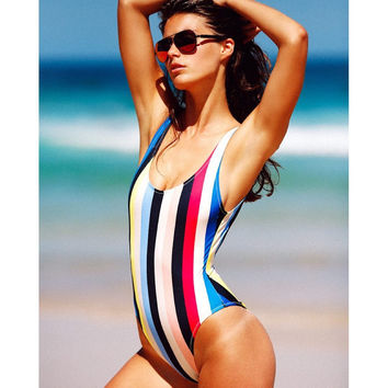 2017 Women Rainbow Color Sexy One-Piece Swimwear High Cut Monokini Backless Swimsuit Bikini [9113657037]