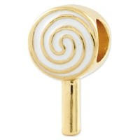 Genuine Reflection Beads (TM) Bead Charm. Sterling Silver Gold-plated Reflections Enameled Lollipop Bead. 100% Satisfaction Guaranteed.