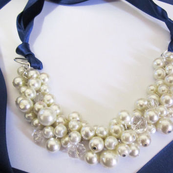 Bridesmaid Necklace - Ivory Pearls with Navy Blue Ribbon - Cluster Necklace, Pearl Necklace, Navy Blue Ribbon Necklace