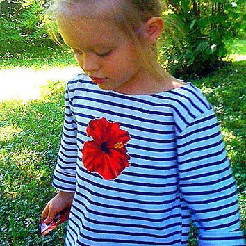 Toddler Girls French Brigitte Bardot Sailor Dress - Nautical Shirt - Sizes 2T to 6Y