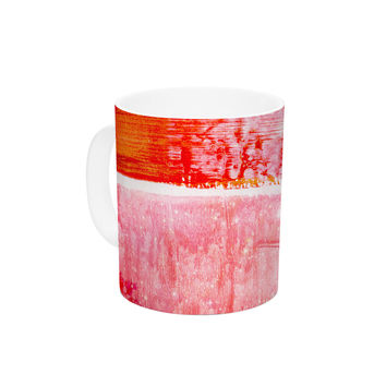 "Iris Lehnhardt ""Coral Paint Wash"" Pink Red Ceramic Coffee Mug"