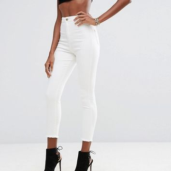 Missguided Vice High Waisted Super Skinny Ankle Grazer Jeans at asos.com